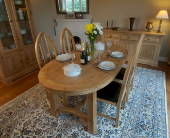 Roche Solid Oak Oval Extending Dining Set