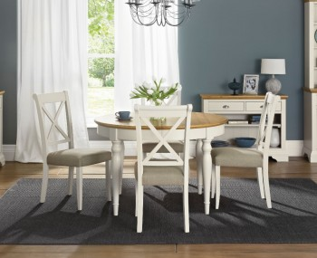 Hampstead Soft Grey And Oak Round Extending Dining Table Chairs
