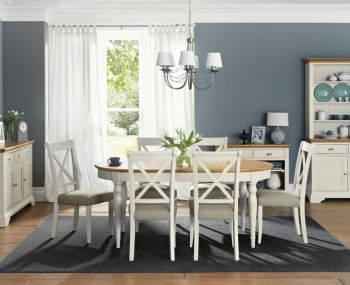 Hampstead Soft Grey and Oak Oval Extending Dining Table and Chairs