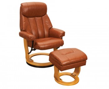 Radford Tan Bonded Leather Swivel Chair and Foot Stool