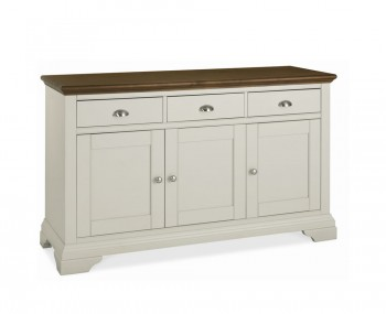 Hampstead Soft Grey and Walnut Large Sideboard