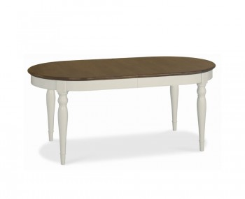 Hampstead Soft Grey and Walnut Oval Extending Dining Table