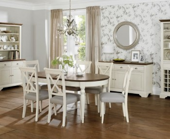 Hampstead Soft Grey and Walnut Oval Extending Dining Table and Chairs
