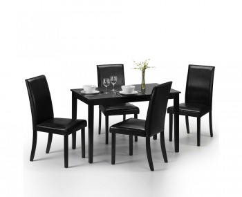 Morgan Black Lacquered Dining Table and Chairs