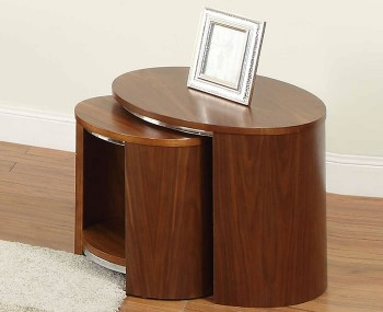 Zennor Round Walnut Veneered Nest of Tables