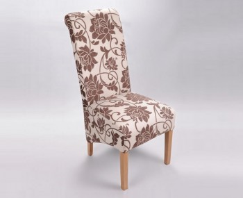 Vendi Brown Jacquard Floral Fabric Dining Chairs