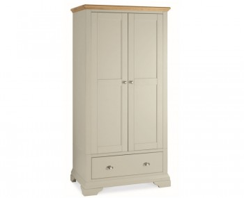 Hampstead Soft Grey and Oak 2 Door Wardrobe