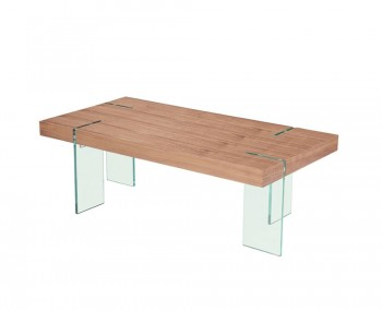 Saxon Walnut and Glass Coffee Table