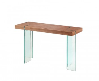 Saxon Walnut and Glass Console Table