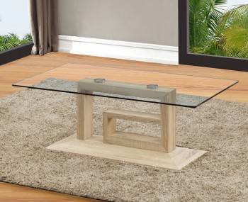 Creston Oak Effect and Glass Coffee Table