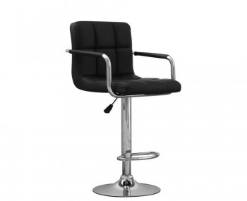 Clifford Black Bonded Leather Bar 					Stool