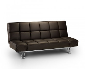Manhattan Brown Faux Leather Clic-Clac Sofa Bed