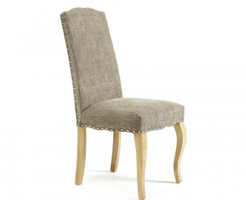 Brompton Bark Fabric and Oak Dining Chairs