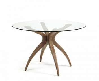 Adelaide Round Glass And Walnut Dining Table