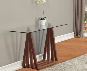 Huygens Glass and Walnut Console Table