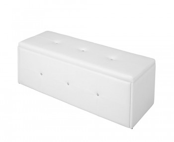 Diamond White Faux Leather Ottoman