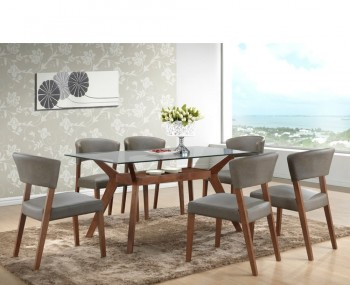 Newport Walnut and Glass Rectangular Dining Set