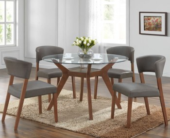 Newport Walnut and Glass Round Dining Set