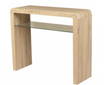 Deloro Oak and Glass Console Table
