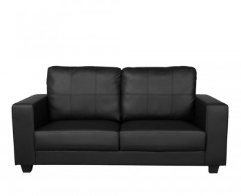 Briggs 3 Seater Black Faux Leather Sofa
