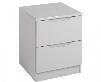 Safara 2 Drawer Cashmere High Gloss Bedside Chest