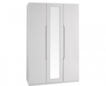 Safara 3 Door Tall Cashmere High Gloss Wardrobe
