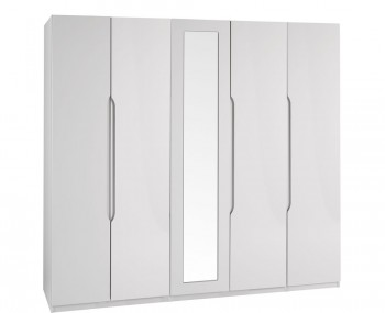 Safara 5 Door Tall Cashmere High Gloss Wardrobe