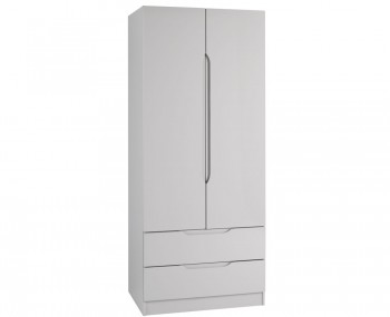 Safara 2 Door 2 Drawer Cashmere High Gloss Wardrobe