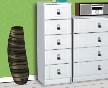 Sigrid White 5 Drawer Tall Chest