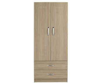 Alonzo Oak 2 Door 2 Drawer Wardrobe