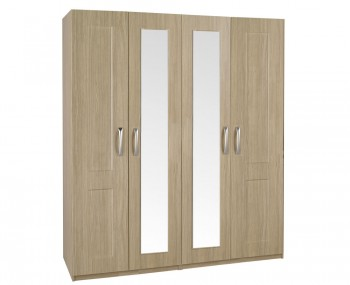 Alonzo Oak Tall 4 Door Wardrobe