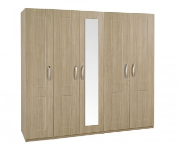 Alonzo Oak Tall 5 Door Wardrobe