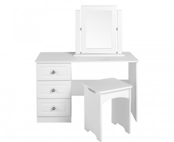 Deeside White Gloss And Crystal Double Dressing Table Frances Hunt