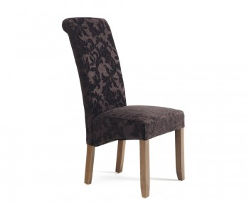 Haycroft Aubergine Floral and Walnut Dining Chairs