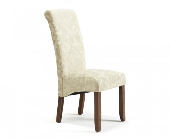 Haycroft Cream Floral and Walnut Dining Chairs