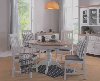 Everette Two-Tone Round Extending Dining Table and Chairs