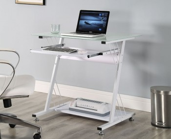 Bayford Small White Glass Computer Desk