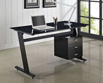 Pickton Black Glass Desk