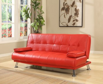 Caitlin Red Faux Leather Sofa Bed
