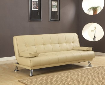 Caitlin Cream Faux Leather Sofa Bed