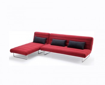 Declan Red Fabric Sofa Bed and Chaise