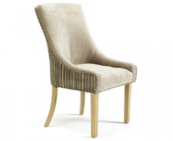 Onslow Mink and Sand Striped Fabric Dining Chairs