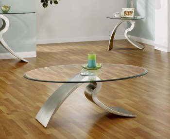 Federico Modern Metal and Glass Coffee Table