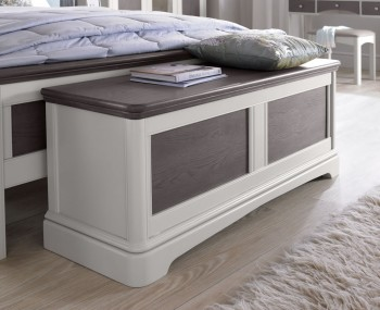 Neve Soft Grey and Weathered Oak Blanket Box