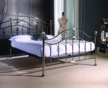 Swann Chrome Metal Crystal Bed Frame