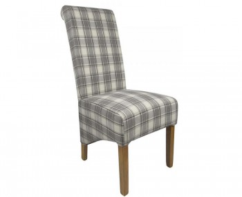 Lakemere Cappuccino Check Herringbone Fabric Dining Chairs