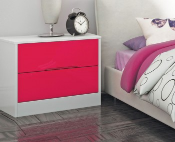 Amelia Hot Pink Gloss 2 Drawer Bedside