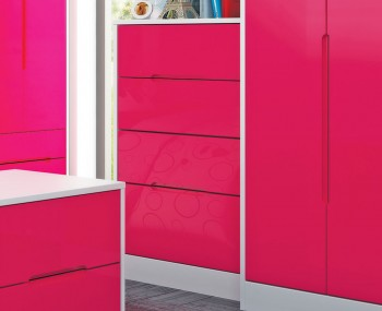 Amelia Hot Pink Gloss 4 Drawer Deep Chest
