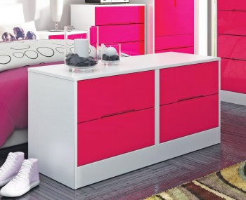 Amelia Hot Pink Gloss 4 Drawer Bed Box