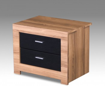 Ex-Display Beckinsale Walnut and Black Gloss Bedside Chest *Special Offer*